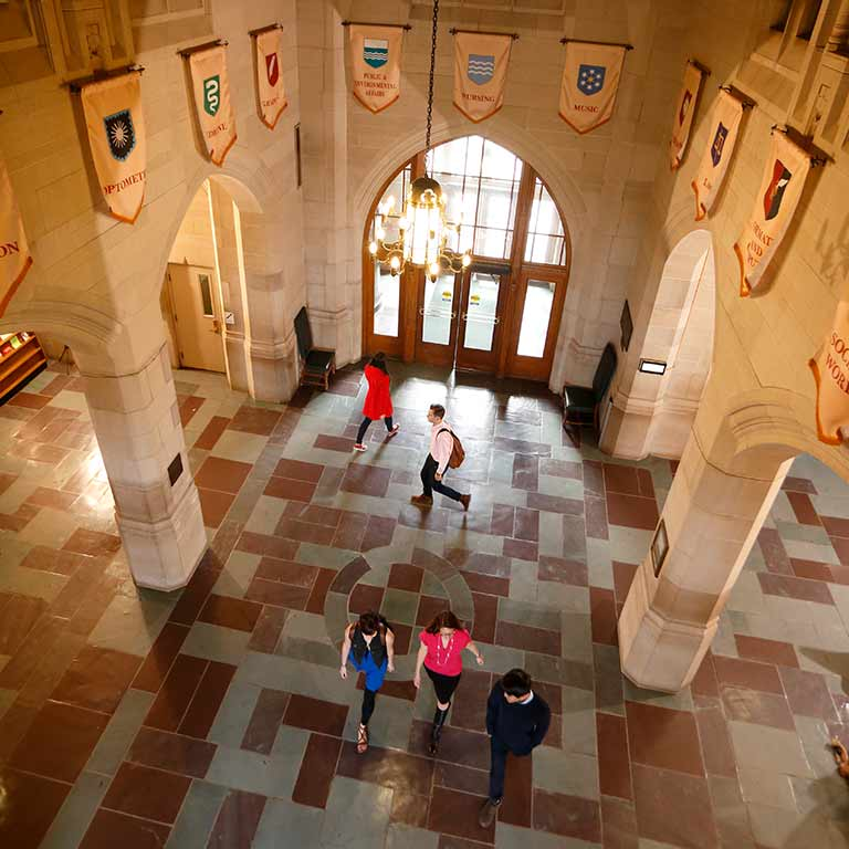 An overhead view of people walking in the Indiana Memorial Union