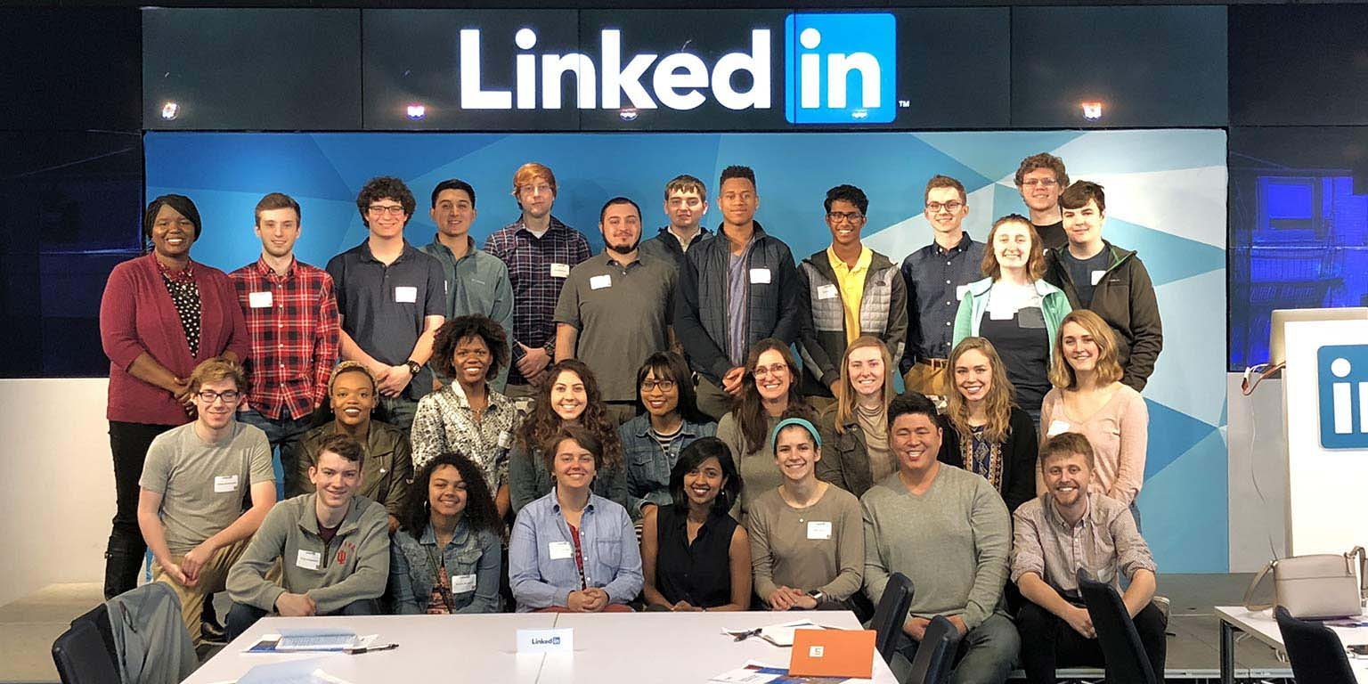A group of SICE LLC students pose together at LinkedIN during a spring break visit.