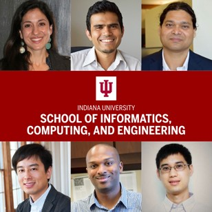 (Clockwise from upper left) Dana Habeeb, Vikram Jadhao, Sameer Patil, Qin Zhang, Donald Williamson, Norman Su