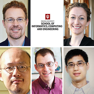 (Clockwise from upper left) Jeremy Siek, Cassidy Sugimoto, Qin Zhang, Sam Tobin-Hochstadt, and Chung-Chieh Shan
