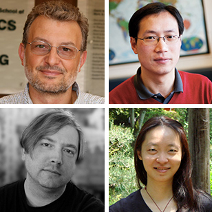 (Clockwise from upper left) Filippo Menczer, Xiaofeng Wang, Jeffrey Bardzell, and Shaowen Bardzell