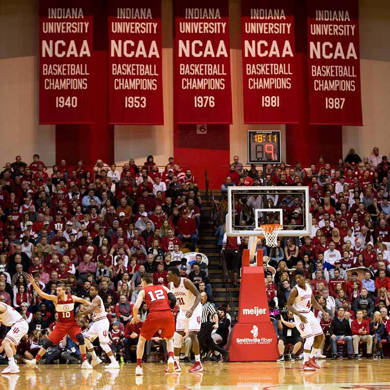 The IU Men's Basketball team plays at Simon Skjodt Assembly Hall.